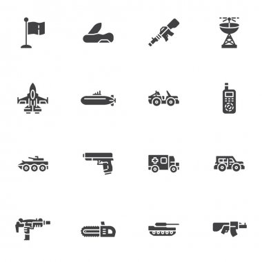 Military ammunition vector icons set, modern solid symbol collection, filled style pictogram pack. Signs, logo illustration. Set includes icons as jet fighter plane, submarine, suv, tank, gun, pistol icon