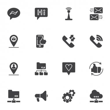 Social media vector icons set, modern solid symbol collection, filled style pictogram pack. Signs, logo illustration. Set includes icons as chat message, comment feedback, server connection, telephone icon