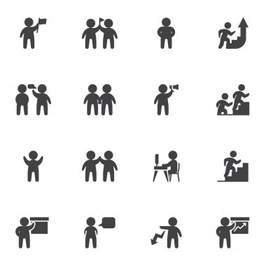 Teamwork people vector icons set, modern solid symbol collection, filled style pictogram pack. Signs, logo illustration. Set includes icons as leadership, team leader, community, communication speech icon