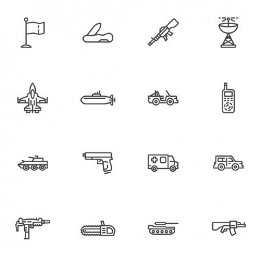 Military ammunition line icons set, outline vector symbol collection, linear style pictogram pack. Signs, logo illustration. Set includes icons as jet fighter plane, submarine, suv, tank, gun, pistol icon
