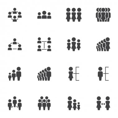 Teamwork group vector icons set, people group modern solid symbol collection, filled style pictogram pack. Signs, logo illustration. Set includes icons as team leader, people connection, community icon