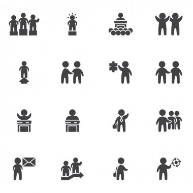 Teamwork group vector icons set, modern solid symbol collection, filled style pictogram pack. Signs logo illustration. Set includes icons as handshake agreement, business deal, businessman, leadership icon