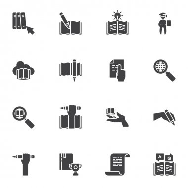 Education and e-learning vector icons set, modern solid symbol collection, filled style pictogram pack. Signs logo illustration. Set includes icons as graduate student, online bookstore cloud, diploma icon
