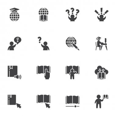 Distance education vector icons set, modern solid symbol collection, filled style pictogram pack. Signs, logo illustration. Set includes icons as e-learning, faq, ebook library, answer and question icon