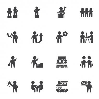 Business teamwork vector icons set, business people group modern solid symbol collection, filled style pictogram pack. Signs, logo illustration. Set includes icons as conference meeting, team leader icon