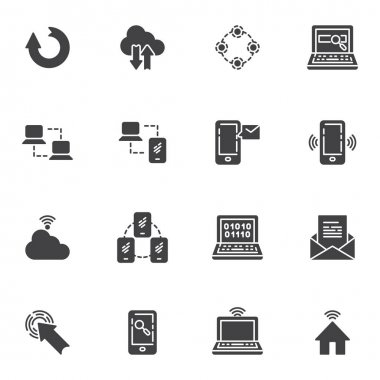 Network connection vector icons set, social media modern solid symbol collection, filled style pictogram pack. Signs logo illustration. Set includes icons - computer server connection, cloud computing icon