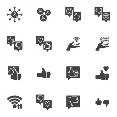 Feedback vector icons set, customer reviews modern solid symbol collection, filled style pictogram pack. Signs, logo illustration. Set includes icons as chat message, speech bubble, thumbs up gesture icon
