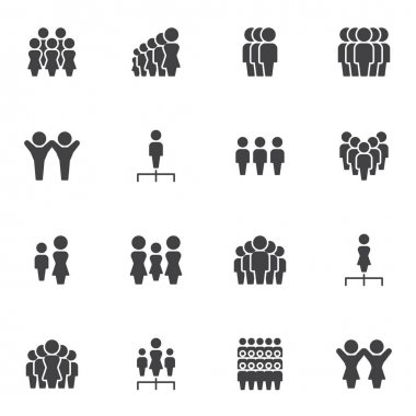 Teamwork people vector icons set, leadership modern solid symbol collection, filled style pictogram pack. Signs, logo illustration. Set includes icons as team leader, crowd of people, human resources icon