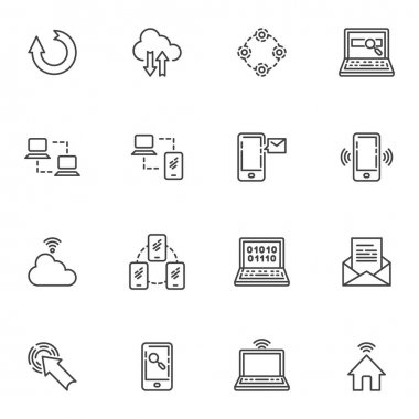 Network connection line icons set, social media outline vector symbol collection, linear style pictogram pack. Signs logo illustration. Set includes icons - computer server connection, cloud computing icon