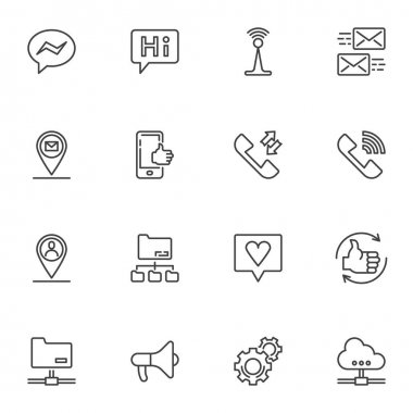 Social media line icons set, outline vector symbol collection, linear style pictogram pack. Signs, logo illustration. Set includes icons as chat message, comment feedback, server connection, telephone icon