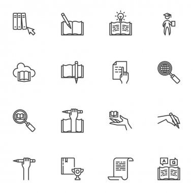 Education and e-learning line icons set, outline vector symbol collection, linear style pictogram pack. Signs logo illustration. Set includes icons as graduate student, online bookstore cloud, diploma icon
