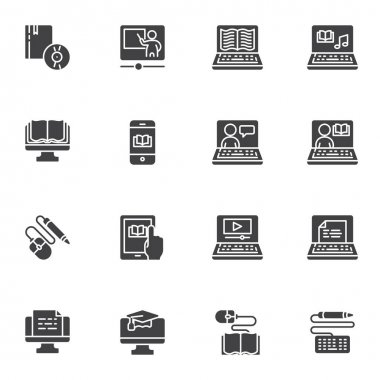 E-learning vector icons set, modern solid symbol collection, filled style pictogram pack. Signs logo illustration. Set includes icons as distance education, online home learning, ebook reading, laptop icon