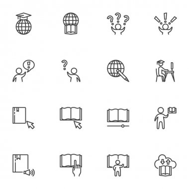 Distance education line icons set, outline vector symbol collection, linear style pictogram pack. Signs, logo illustration. Set includes icons as e-learning, faq, ebook library, answer and question icon