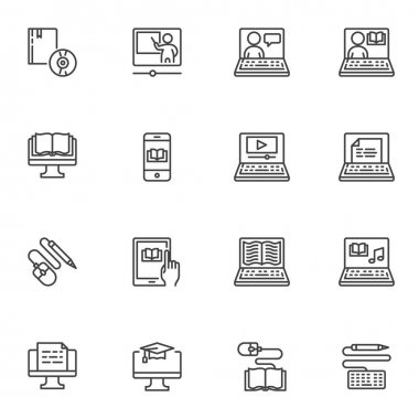 E-learning line icons set, outline vector symbol collection, linear style pictogram pack. Signs logo illustration. Set includes icons as distance education, online home learning, ebook reading, laptop icon
