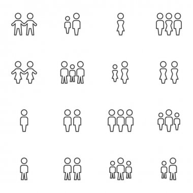 Crowd of people line icons set, people group outline vector symbol collection, linear style pictogram pack. Signs, logo illustration. Set includes icons as family, teamwork, friends, man and woman icon