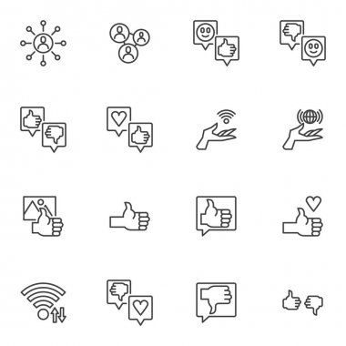Feedback line icons set, customer reviews outline vector symbol collection, linear style pictogram pack. Signs, logo illustration. Set includes icons as chat message, speech bubble, thumbs up gesture icon