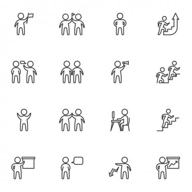 Teamwork people line icons set, outline vector symbol collection, linear style pictogram pack. Signs, logo illustration. Set includes icons as leadership, team leader, community, communication speech icon