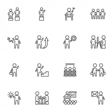 Business teamwork line icons set, business people group outline vector symbol collection, linear style pictogram pack. Signs, logo illustration. Set includes icons as conference meeting, team leader icon