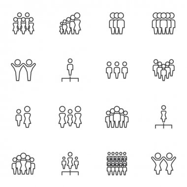 Teamwork people line icons set, leadership outline vector symbol collection, linear style pictogram pack. Signs, logo illustration. Set includes icons as team leader, crowd of people, human resources icon
