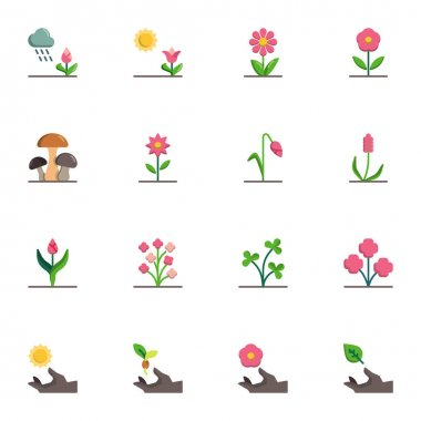 Flowers collection, flat icons set, Colorful symbols pack contains - growing tulip, chamomile petals, plant with leaf, mushroom, nature watering, seedling. Vector illustration. Flat style design icon