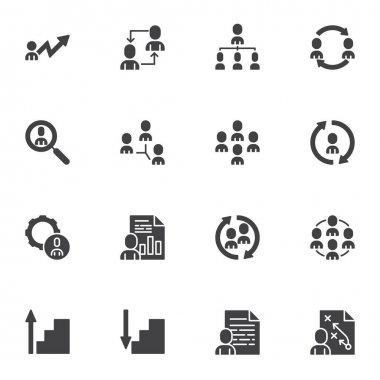 Team Work vector icons set, modern solid symbol collection, business people filled style pictogram pack. Signs logo illustration. Set includes icons as employee recruitment, teamwork, research, report icon