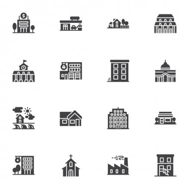Buildings vector icons set, modern solid symbol collection, filled style pictogram pack. Signs, logo illustration. Set includes icons as bank building, county house, hospital, church, school, library icon