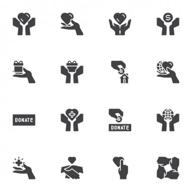 Charity and donation vector icons set, modern solid symbol collection, filled style pictogram pack. Signs logo illustration. Set includes icons - hand holding heart, money donate, gift box, volunteer icon