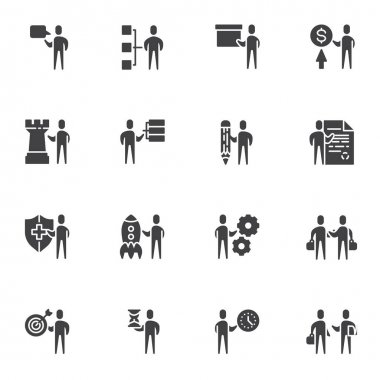 Business team vector icons set, modern solid symbol collection, filled style pictogram pack. Signs, logo illustration. Set includes icons as business presentation, startup rocket, teamwork management icon