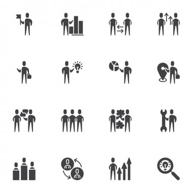 Business teamwork vector icons set, modern solid symbol collection, filled style pictogram pack. Signs, logo illustration. Set includes icons as creative innovation, work idea, team staff people icon