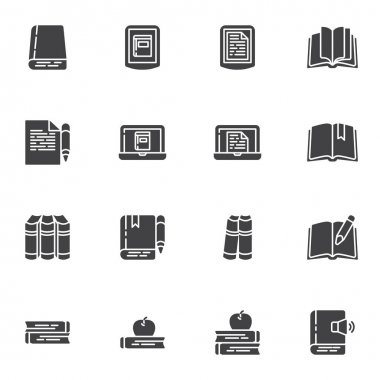 Book library vector icons set, modern solid symbol collection, filled style pictogram pack. Signs, logo illustration. Set includes icons as e-learning, ebook reading, notebook, online education, apple icon