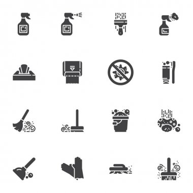 Disinfection and cleaning vector icons set, modern solid symbol collection, filled style pictogram pack. Signs, logo illustration. Set includes icons as paper napkin towel, floor sweeping, glass clean icon