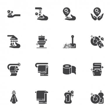 Hygiene and cleaning vector icons set, modern solid symbol collection, filled style pictogram pack. Signs, logo illustration. Set includes icons as clean toilet, wash hands, laundry, dish washing icon