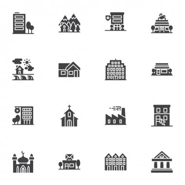 Buildings architecture vector icons set, modern solid symbol collection, filled style pictogram pack. Signs logo illustration. Set includes icons as coffee shop, front store, hospital, office building icon