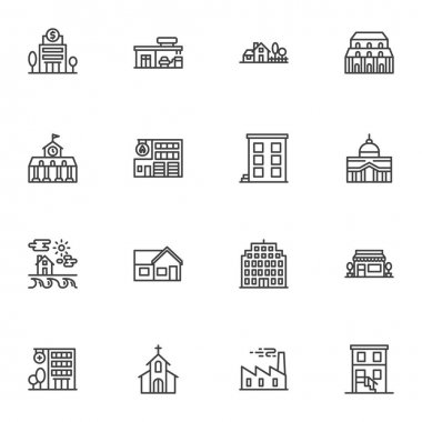 Buildings line icons set, outline vector symbol collection, linear style pictogram pack. Signs, logo illustration. Set includes icons as bank building, county house, hospital, church, school, library icon