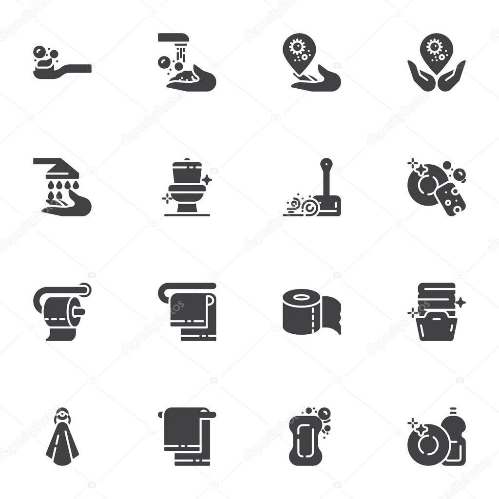 Hygiene and cleaning vector icons set  modern solid symbol collection  filled style pictogram pack icon