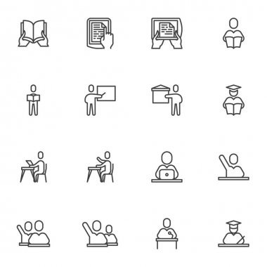 Back to school line icons set, education outline vector symbol collection, linear style pictogram pack. Signs, logo illustration. Set includes icons as book reading, teacher, graduate student, ebook icon