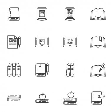 Book library line icons set, outline vector symbol collection, linear style pictogram pack. Signs, logo illustration. Set includes icons as e-learning, ebook reading, notebook, online education, apple icon
