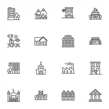 Buildings architecture line icons set, outline vector symbol collection, linear style pictogram pack. Signs logo illustration. Set includes icons as coffee shop, front store, hospital, office building icon