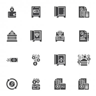 Banking, finance vector icons set, modern solid symbol collection, filled style pictogram pack. Signs logo illustration. Set includes icons as deposit box, money wallet, accounting report, bank budget icon