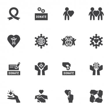 Donate, charity vector icons set, modern solid symbol collection, filled style pictogram pack. Signs, logo illustration. Set includes icons as money donation, volunteering, healthcare, togetherness icon