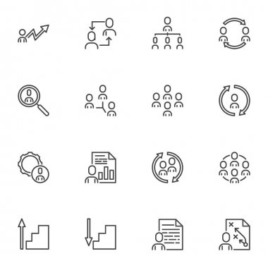 Team Work line icons set, business people outline vector symbol collection, linear style pictogram pack. Signs logo illustration. Set includes icons as employee recruitment, teamwork, research, report icon