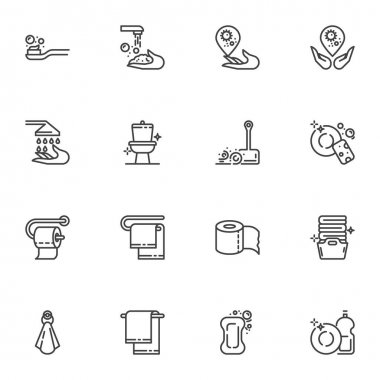 Hygiene and cleaning line icons set, outline vector symbol collection, linear style pictogram pack. Signs, logo illustration. Set includes icons as clean toilet, wash hands, laundry, dish washing icon