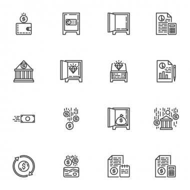 Banking, finance line icons set, outline vector symbol collection, linear style pictogram pack. Signs logo illustration. Set includes icons as deposit box, money wallet, accounting report, bank budget icon