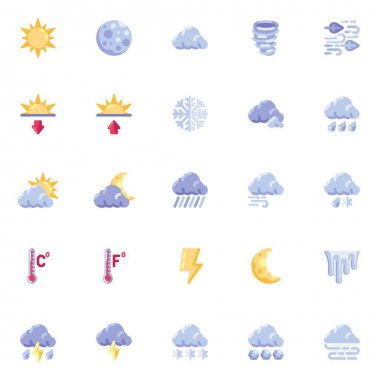 Forecast weather elements collection, meteorology weather flat icons set, Colorful symbols pack contains - clouds, sun, rain, winter, summer, thunderstorm. Vector illustration. Flat style design icon