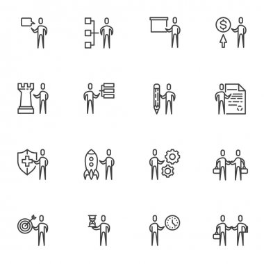 Business team line icons set, outline vector symbol collection, linear style pictogram pack. Signs, logo illustration. Set includes icons as business presentation, startup rocket, teamwork management icon