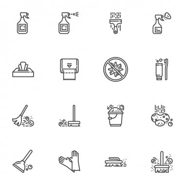 Disinfection and cleaning line icons set, outline vector symbol collection, linear style pictogram pack. Signs, logo illustration. Set includes icons as paper napkin towel, floor sweeping, glass clean icon