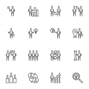 Business teamwork line icons set, outline vector symbol collection, linear style pictogram pack. Signs, logo illustration. Set includes icons as creative innovation, work idea, team staff people icon