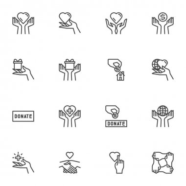 Charity and donation line icons set, outline vector symbol collection, linear style pictogram pack. Signs logo illustration. Set includes icons - hand holding heart, money donate, gift box, volunteer icon