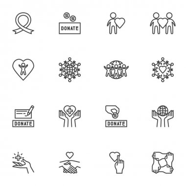 Donate, charity line icons set, outline vector symbol collection, linear style pictogram pack. Signs, logo illustration. Set includes icons as money donation, volunteering, healthcare, togetherness icon