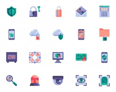 Cyber security elements collection, internet security flat icons set, Colorful symbols pack contains - network protection, identification password, eye scan. Vector illustration. Flat style design icon